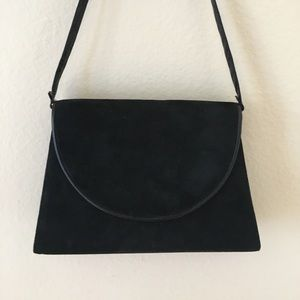 Vintage Covertible Black Suede Leather Flap Purse